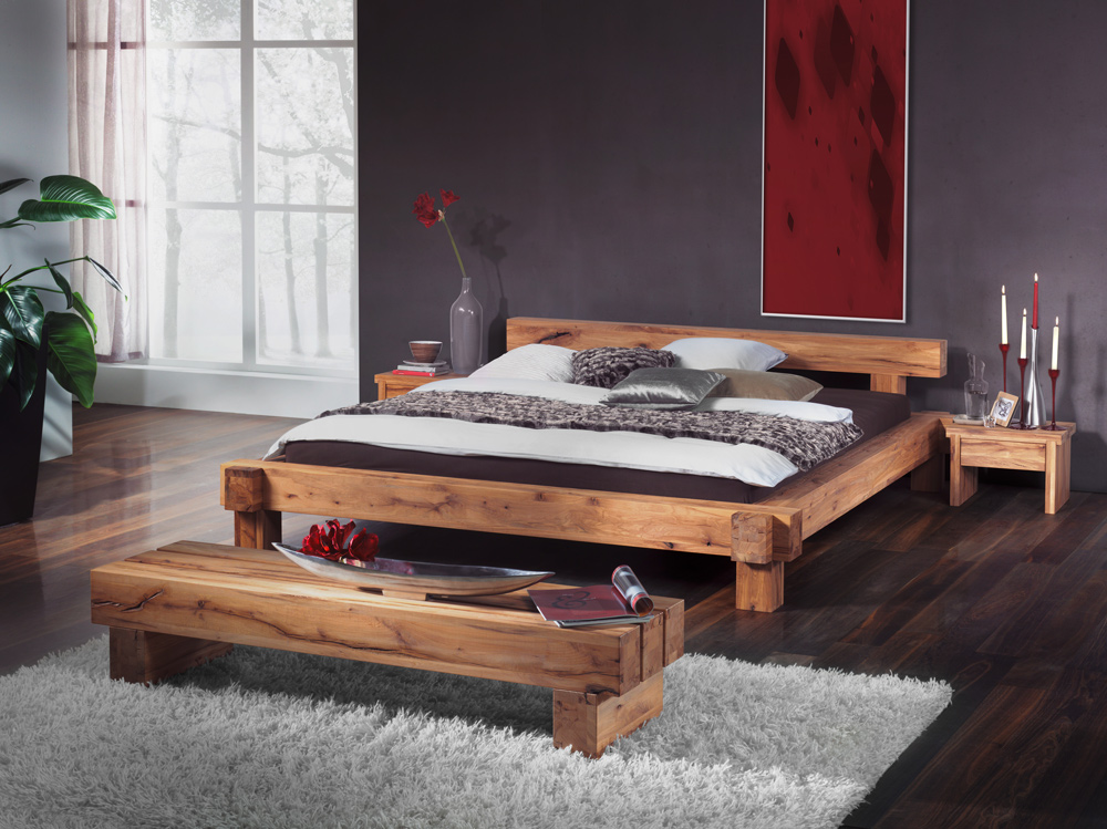 g nstige m bel online bestellen balkenbett kernbuche. Black Bedroom Furniture Sets. Home Design Ideas