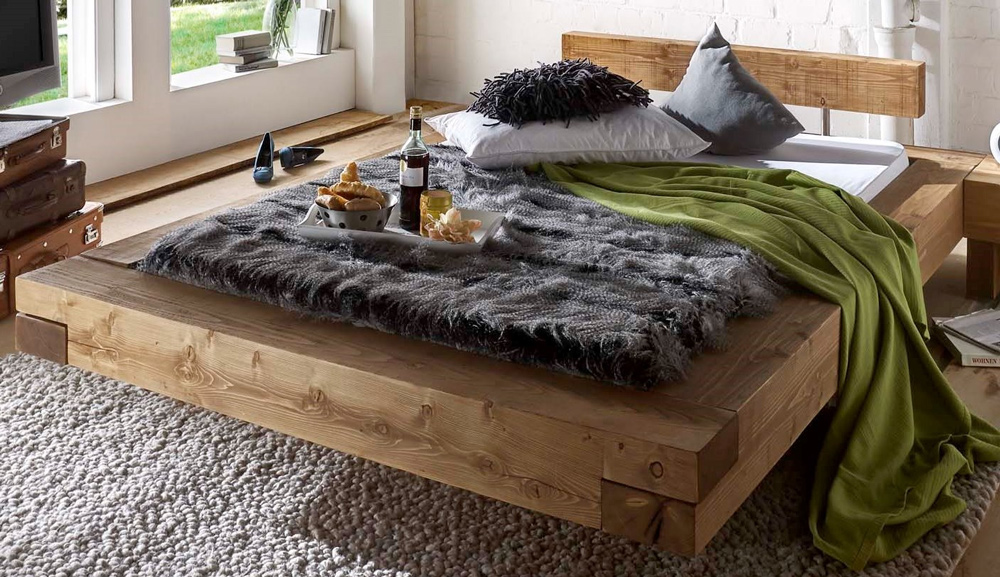 g nstige m bel online bestellen massivholz balkenbett brus fichte natur gewachst holzbalken. Black Bedroom Furniture Sets. Home Design Ideas