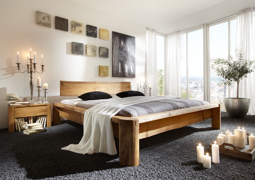 g nstige m bel online bestellen tundra massivholz bett fichte gewachst massiv mit kopfteil. Black Bedroom Furniture Sets. Home Design Ideas