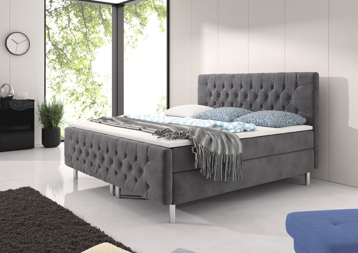 g nstige m bel online bestellen boxsspringbett chester mit chesterfield steppung stoff grau. Black Bedroom Furniture Sets. Home Design Ideas
