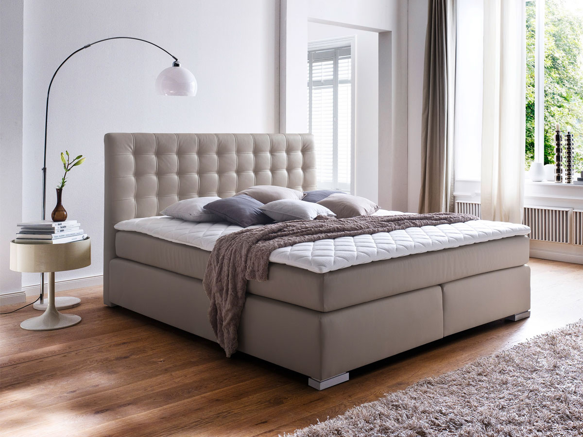 g nstige m bel online bestellen boxspringbett kunstleder weiss oder muddy mit oder ohne topper. Black Bedroom Furniture Sets. Home Design Ideas