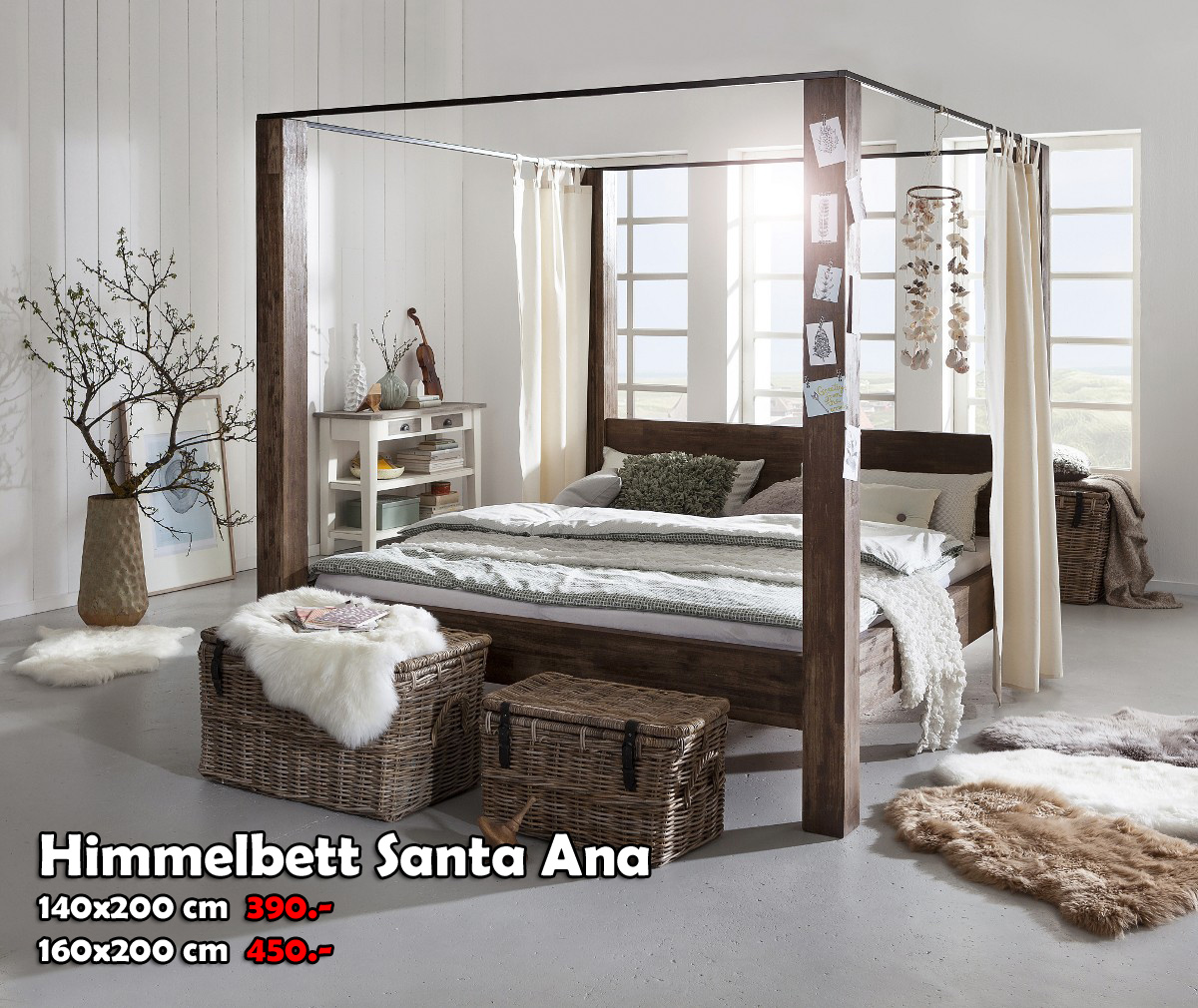 g nstige m bel online bestellen himmelbett santa ana. Black Bedroom Furniture Sets. Home Design Ideas