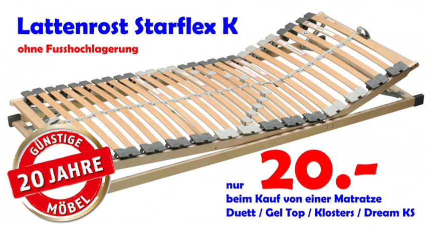 g nstige m bel online bestellen lattenrost starflex mit kopfhochlagerung und. Black Bedroom Furniture Sets. Home Design Ideas